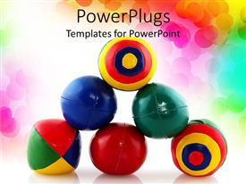 PowerPlugs: PowerPoint template with stack of colorful juggling balls, rainbow dot background
