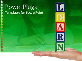 PowerPoint template displaying stack of colorful kids learning blocks with the text learn
