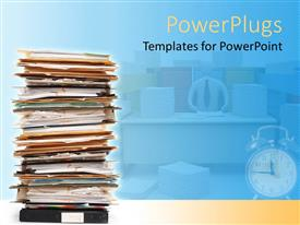 PowerPlugs: PowerPoint template with stack of documents and files in folders pile with alarm clock and teacher at desk