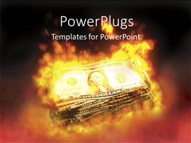 PowerPoint template displaying stack of dollar bills burning over black background