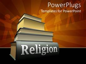 PowerPlugs: PowerPoint template with stack of five heavy religious texts on orange background