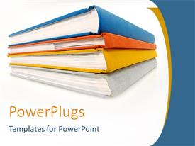 PowerPlugs: PowerPoint template with stack of four books on white background