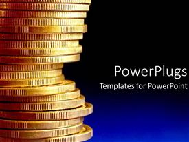 PowerPoint template displaying stack of gold coins over blue background
