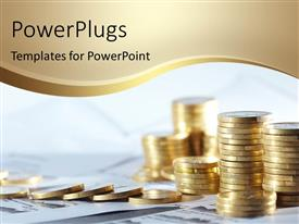 PowerPlugs: PowerPoint template with stack of gold coins over financial papers