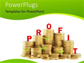PowerPlugs: PowerPoint template with stack of golden colored coins with plants depicting growth and profit, green colored curves