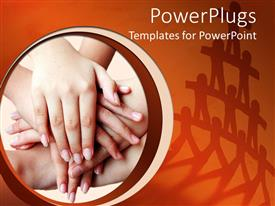PowerPoint template displaying stack of hands depicting teamwork and cooperation and tower made of figures in the background