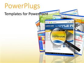 PowerPlugs: PowerPoint template with web search depiction with magnifying glass hovering over web pages