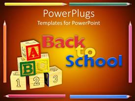 PowerPlugs: PowerPoint template with stack of learning blocks with color pencils and a Back To School text