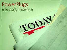 PowerPlugs: PowerPoint template with stack of news papers with today text on one