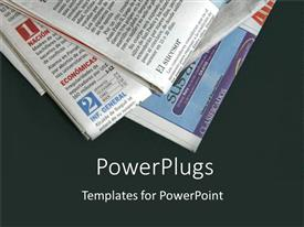 PowerPlugs: PowerPoint template with stack of newspapers on black background