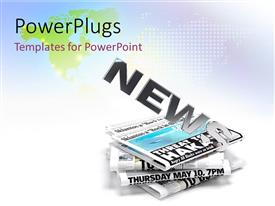 PowerPlugs: PowerPoint template with a stack of newspapers with a text that spells out the word 'New '