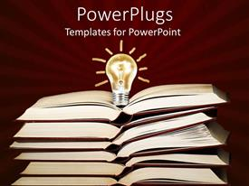 PowerPlugs: PowerPoint template with stack of open books with a light bulb on it