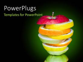 PowerPlugs: PowerPoint template with stack of orange lemon, and apple slices on green background