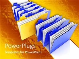 PowerPlugs: PowerPoint template with stack of seven blue files with a yellow file in the middle