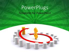 PowerPlugs: PowerPoint template with stack of silver coins and an outstanding gold pile with a dollar symbol in the center