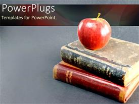 PowerPoint template displaying a stack of two old books with an apple