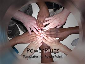 PowerPlugs: PowerPoint template with stacked hands of people of various ethnicities and colors showing cooperation, unity, teamwork