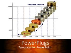 PowerPlugs: PowerPoint template with stacked up coins in ten layers with a chart