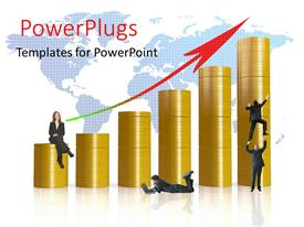 PowerPlugs: PowerPoint template with stacks of ascending gold coins with people trying to climb them