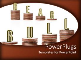 PowerPlugs: PowerPoint template with stacks of coins with the text Bear Bull on a white background