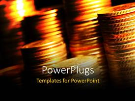 PowerPlugs: PowerPoint template with stacks of coins under golden light