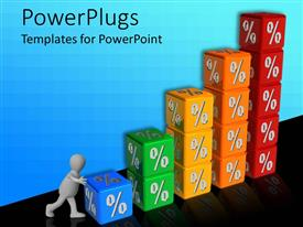 PowerPlugs: PowerPoint template with stacks of colorful cubes with a % symbol forming a bar chart