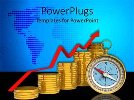 PowerPlugs: PowerPoint template with stacks of gold coins and a compass on a blue map background