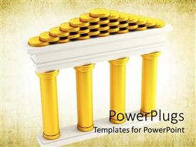 PowerPoint template displaying stacks of golden coins forming the symbol of bank on old paper background