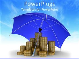 PowerPlugs: PowerPoint template with stacks of golden coins under a blue opened umbrella