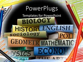 PowerPoint template displaying stacks of school text books for various subjects framed by colored pencils