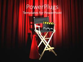 PowerPlugs: PowerPoint template with stage with directors chair and tools with red curtains behind