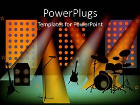 PowerPlugs: PowerPoint template with a stage set for a musical concert with a number of lights