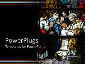 PowerPoint template displaying stained glass cathedral window depicting biblical scene