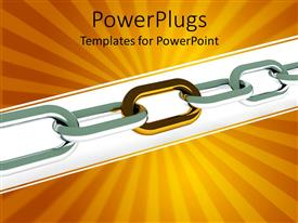 PowerPoint template displaying a stainless steel chain with golden background