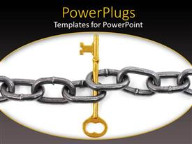 PowerPlugs: PowerPoint template with a stainless steel chain with a key