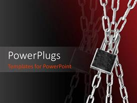 PowerPlugs: PowerPoint template with a stainless steel chain with a lock