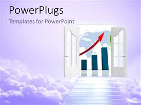 PowerPlugs: PowerPoint template with stair to open door of financial profit with upward red arrow