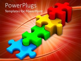 PowerPlugs: PowerPoint template with stair steps formed from multicolored three dimensional jigsaw puzzle pieces
