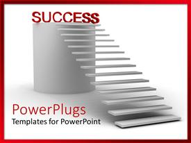 PowerPlugs: PowerPoint template with stair steps leading to red success word on top of cylinder
