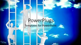 PowerPoint template displaying a bluish background with various people climbing the ladder