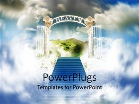 PowerPoint template displaying stairway to heaven with white shining open gates and beautiful green scenery in the background surrounded by bright sky