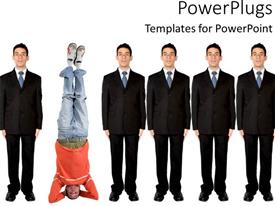 PowerPlugs: PowerPoint template with standing out from the crowd metaphor with man standing on head and group of business men, being different, unique