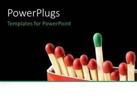 PowerPlugs: PowerPoint template with standing out green and red matches black background fire starter ignite