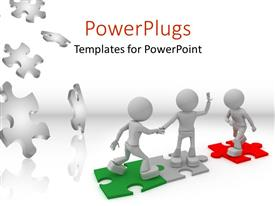 PowerPlugs: PowerPoint template with standing on puzzle and choosing partner with few puzzles