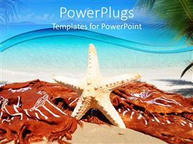 PowerPlugs: PowerPoint template with standing white colored star fish on a tropical beach