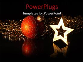 PowerPoint template displaying a star and a decoration ball with blackish background