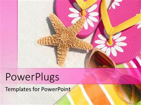PowerPlugs: PowerPoint template with a star fish with sleepers in the background