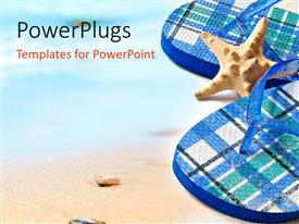 PowerPlugs: PowerPoint template with starfish between colorful flip flops sitting on sandy beach