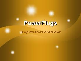 PowerPoint template displaying starry night gold stars shining lights magic rays warm gold background