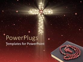 PowerPoint template displaying starry night sky with rosary on bible